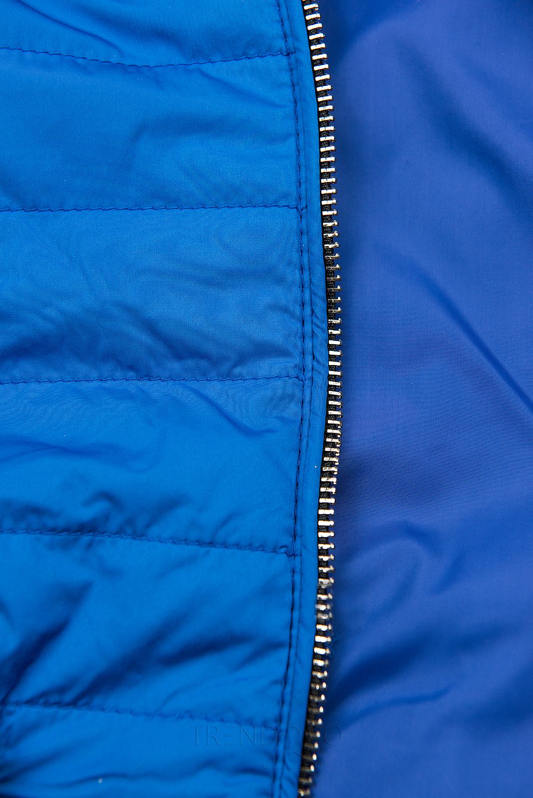 Kobaltovo modrá prešívaná ľahká bunda