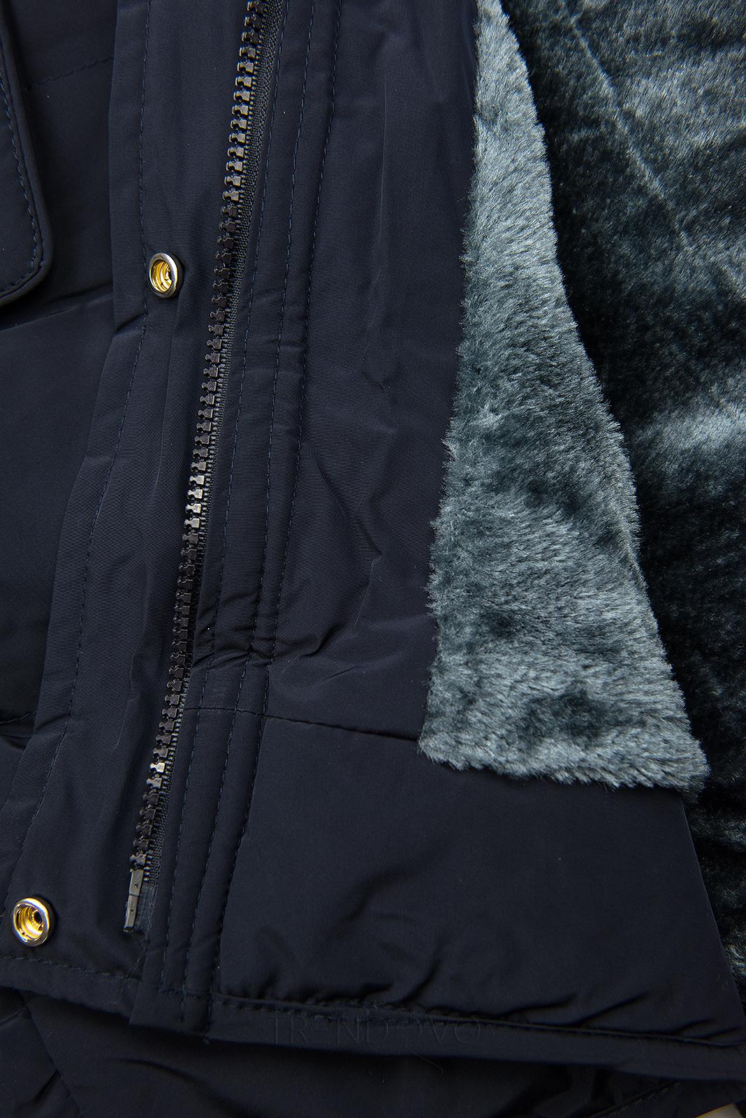 Tmavomodrá zimná bunda s plyšovou podšívkou