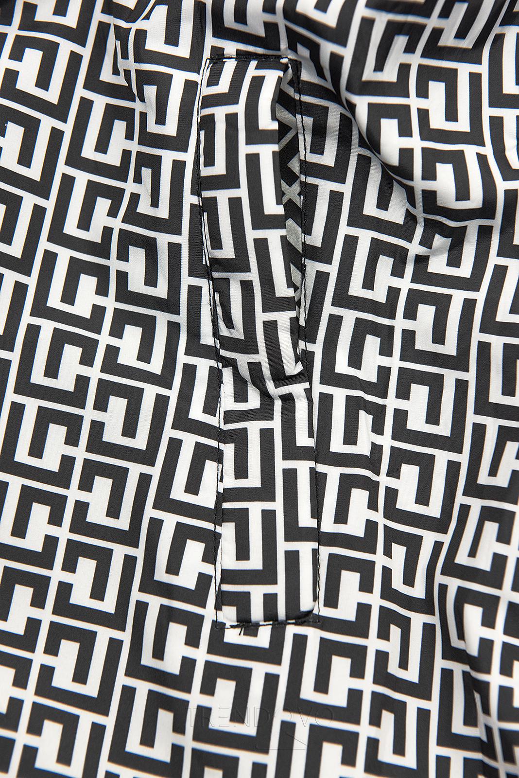 Čierna/biela lesklá obojstranná bunda
