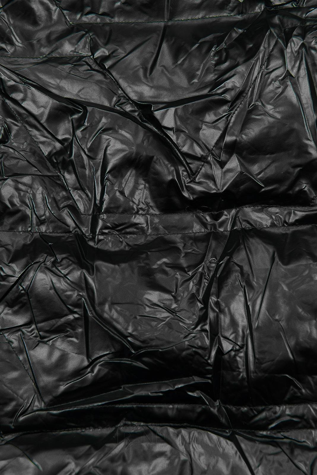 Čierna/hnedá lesklá obojstranná bunda
