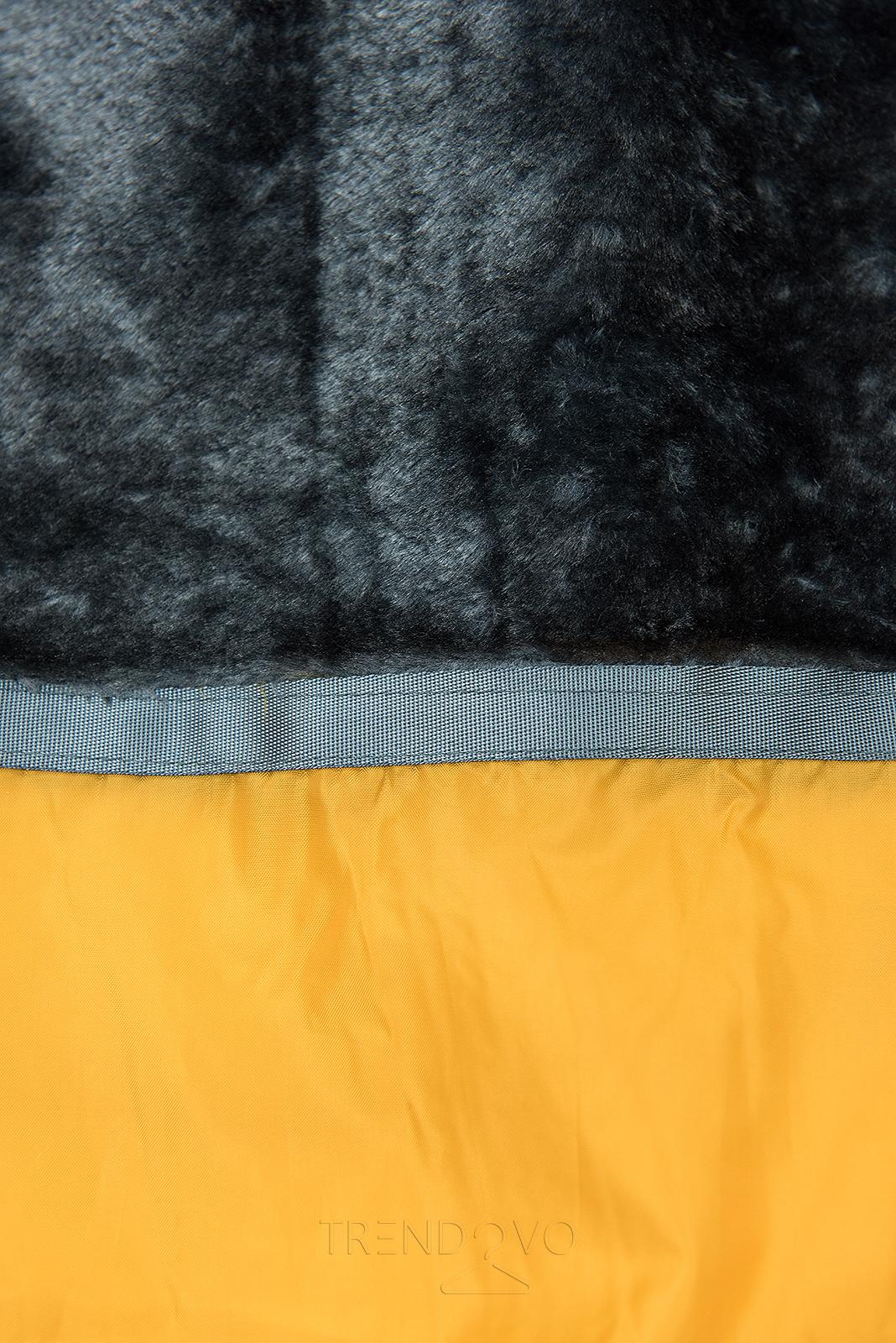 Žltá zimná bunda v predĺženom strihu