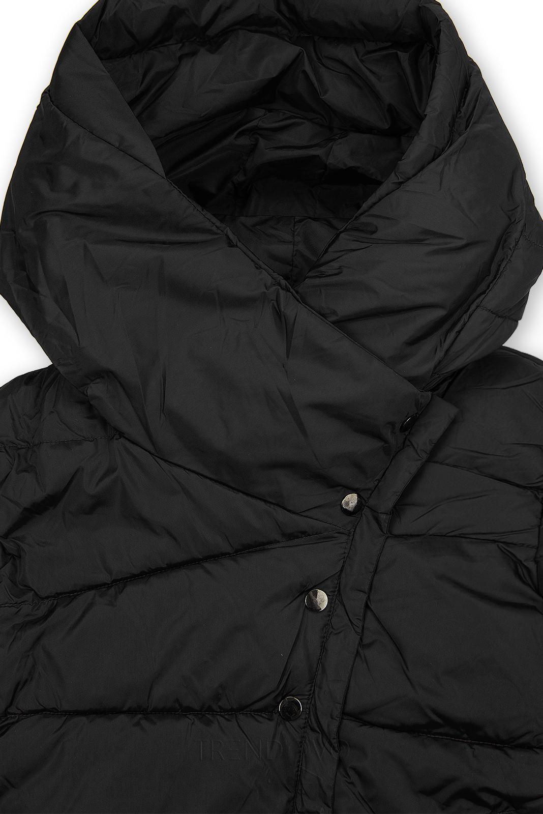 Čierna zimná bunda s vysokým golierom