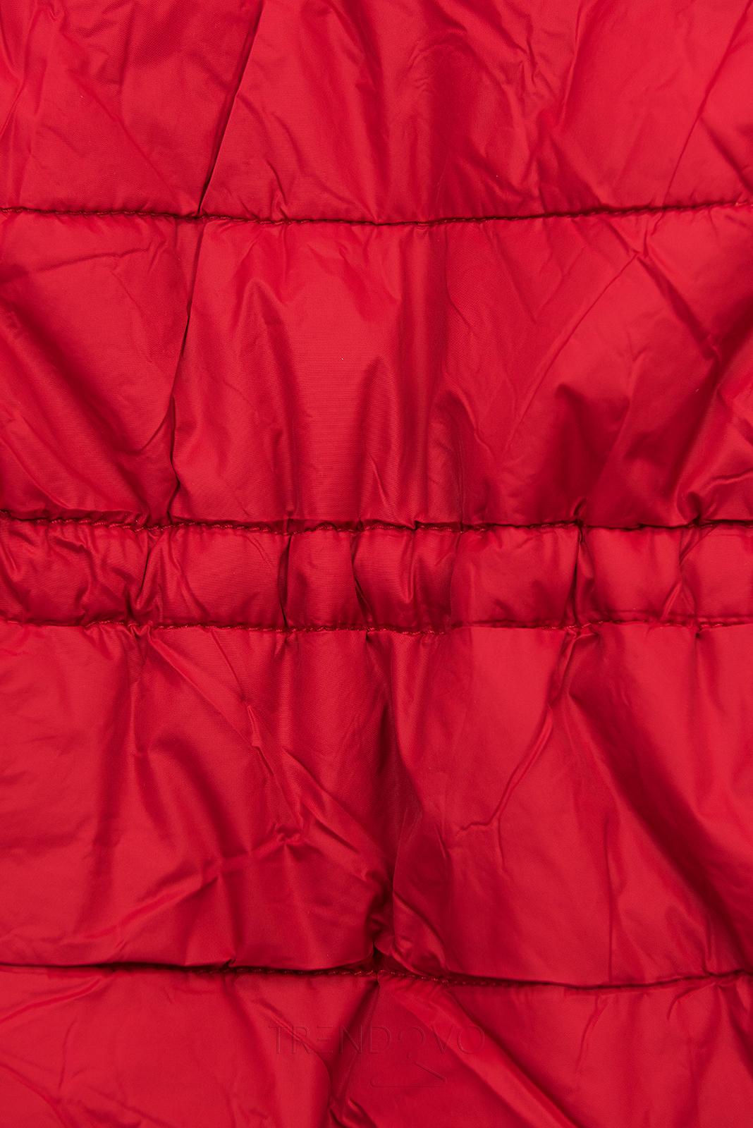 Červená/hnedá obojstranná bunda s výplňou