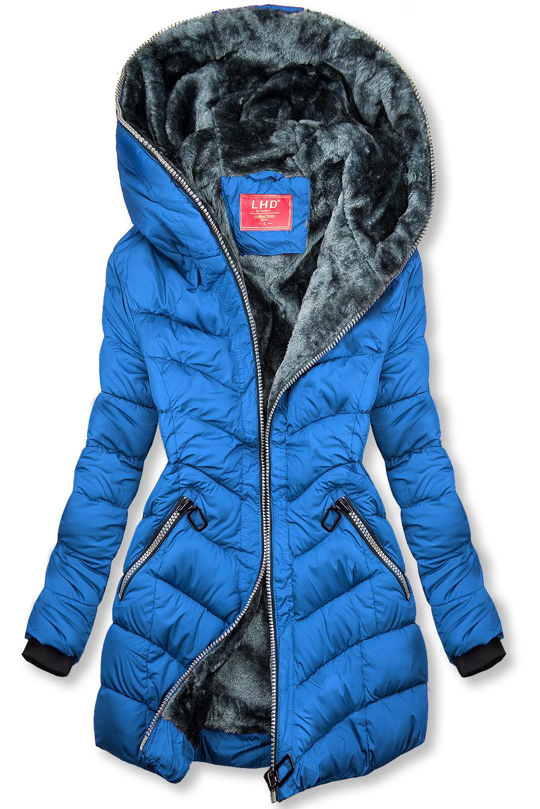 Kráľovská modrá prešívaná bunda zateplená plyšom