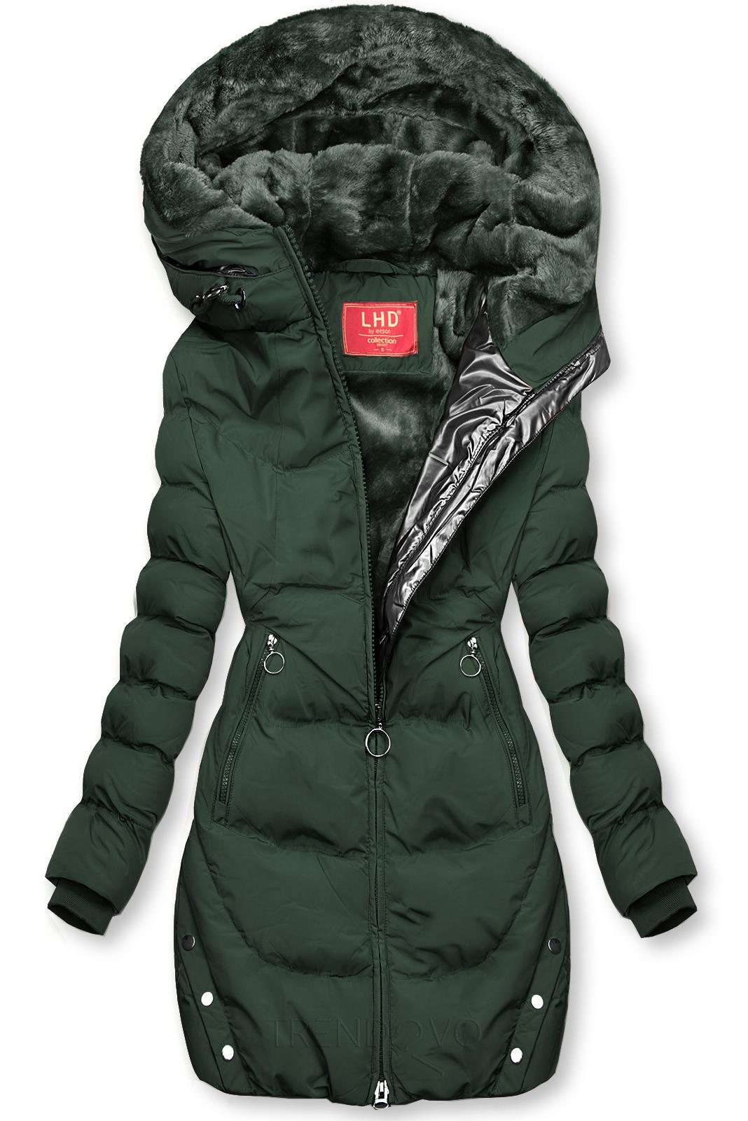 Tmavozelená zimná bunda so strieborným lemom