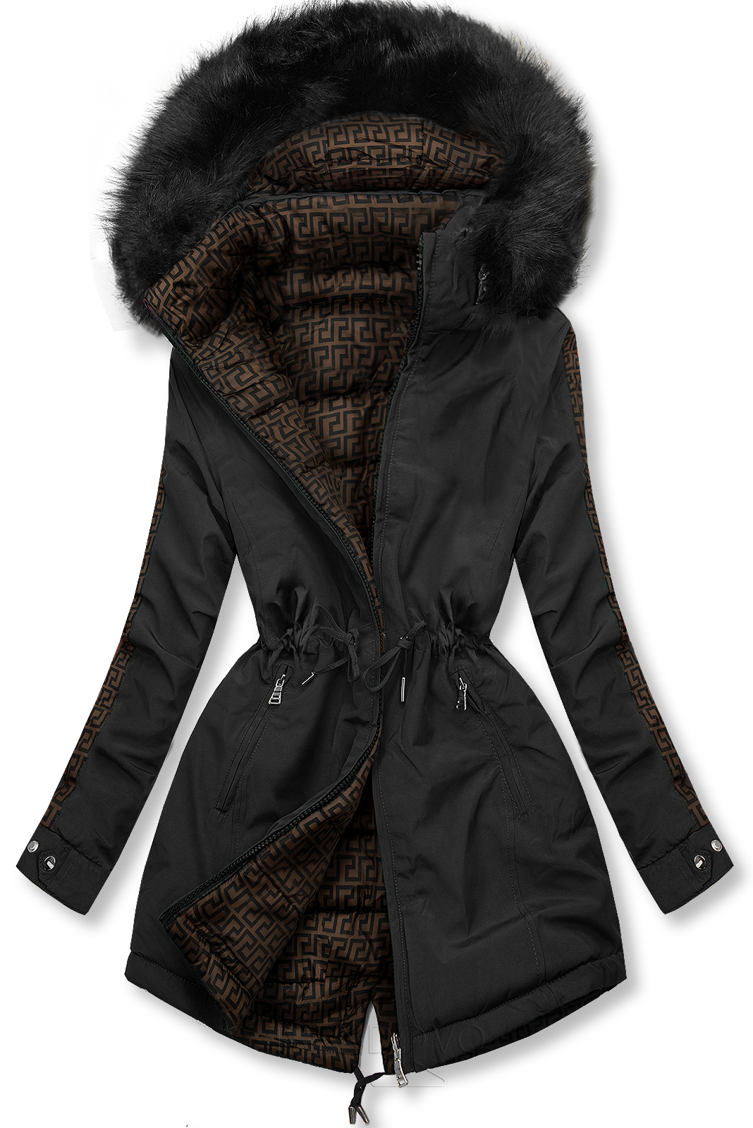 Čierna prešívaná obojstranná bunda