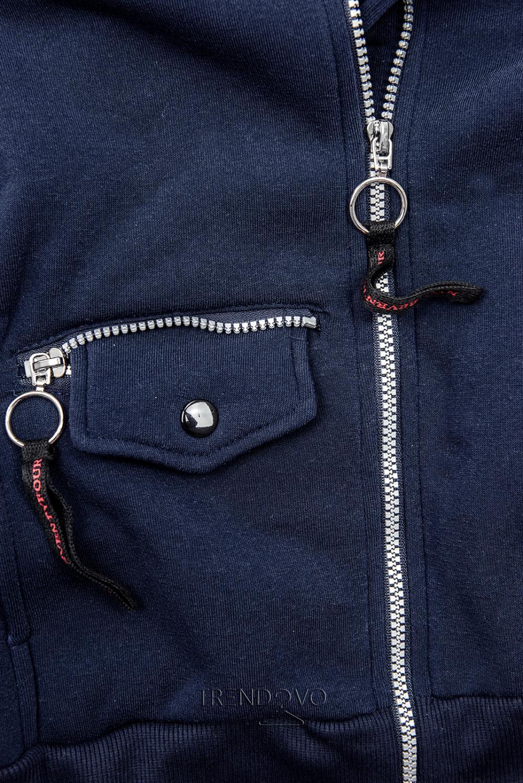 Tmavomodrá mikina na zips