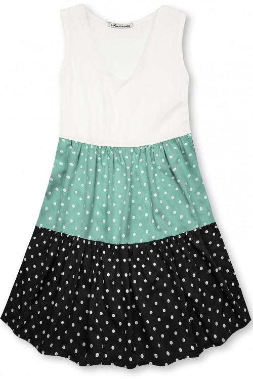 Bodkované šaty z viskózy biela/mätová/čierna