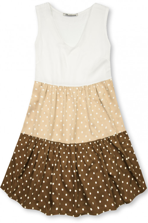 Bodkované šaty z viskózy biela/béžová/hnedá