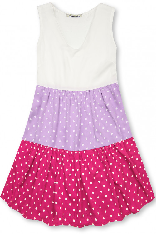 Bodkované šaty z viskózy biela/lila/ružová