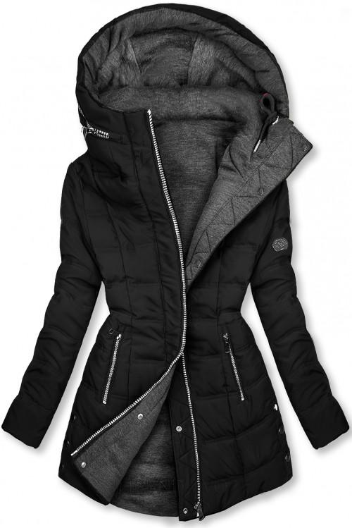 Čierna/sivá obojstranná bunda v športovom štýle