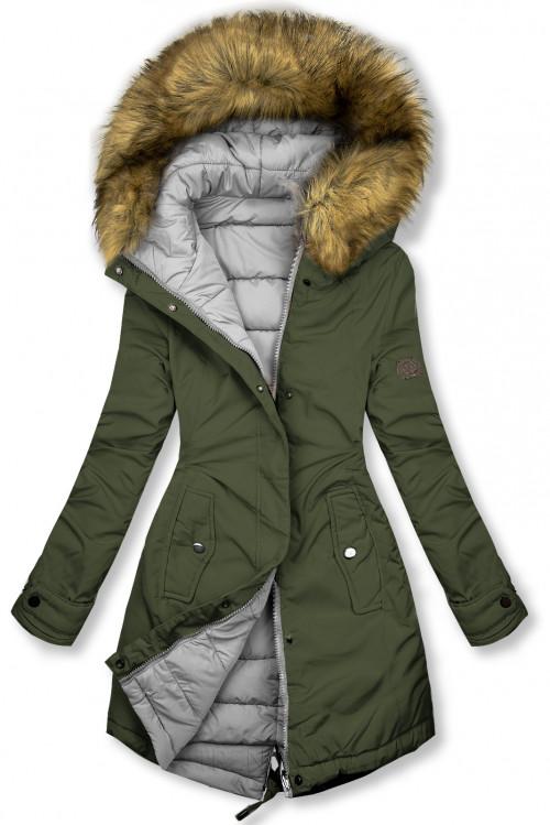 Khaki/sivá obojstranná zimná bunda