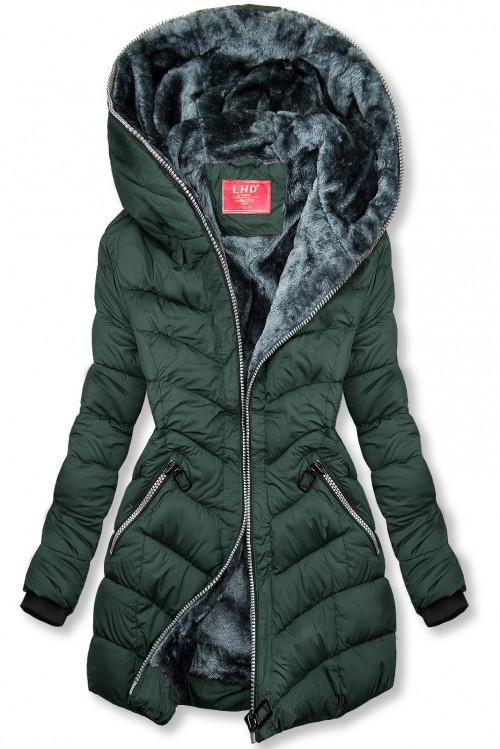 Tmavozelená prešívaná bunda zateplená plyšom