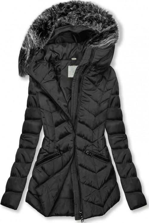 Čierna zimná prešívaná bunda s nepravou kožušinou