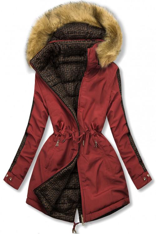 Tehlová/hnedá prešívaná obojstranná bunda