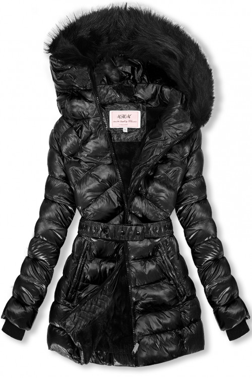 Čierna/čierna lesklá bunda s opaskom