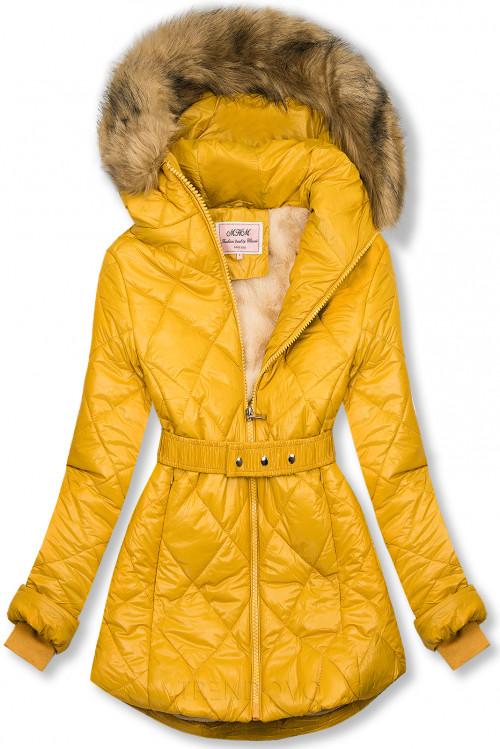 Žltá lesklá zimná bunda s opaskom