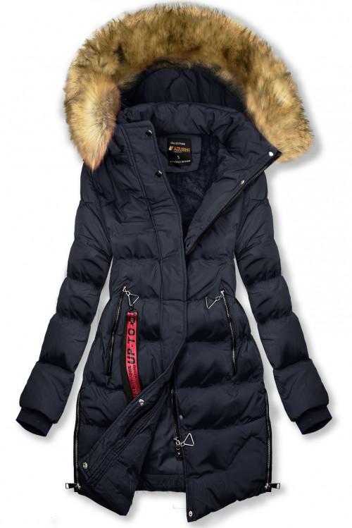 Tmavomodrá predĺžená zimná bunda
