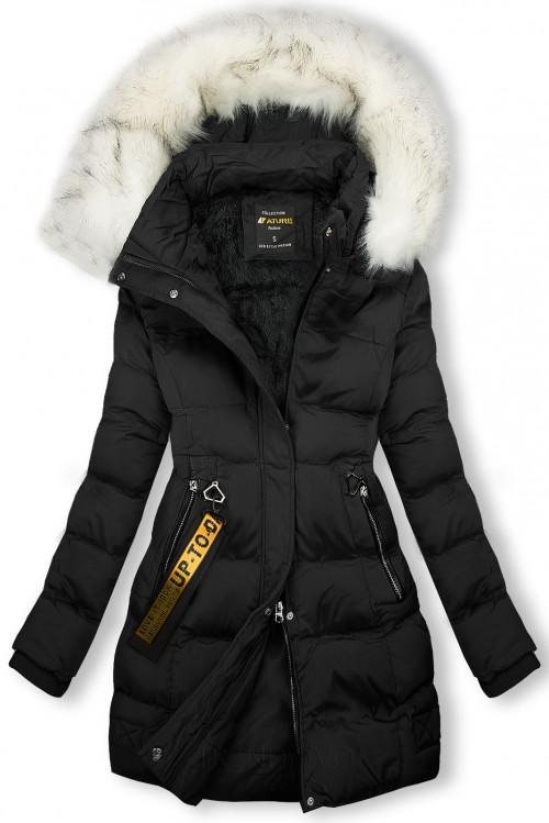 Zimná bunda čierna so smotanovou kožušinou