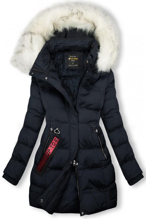 Zimná bunda tmavomodrá so smotanovou kožušinou