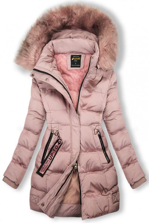 Zimná bunda staroružová s ružovou kožušinou