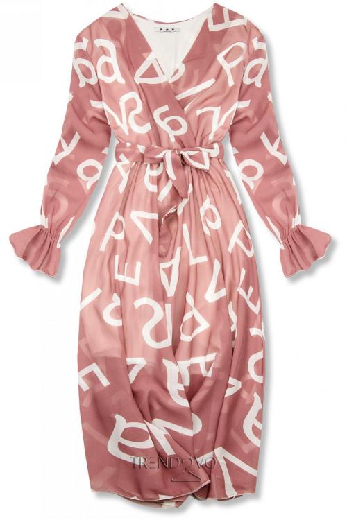 Svetloružové midi šaty s potlačou písmen