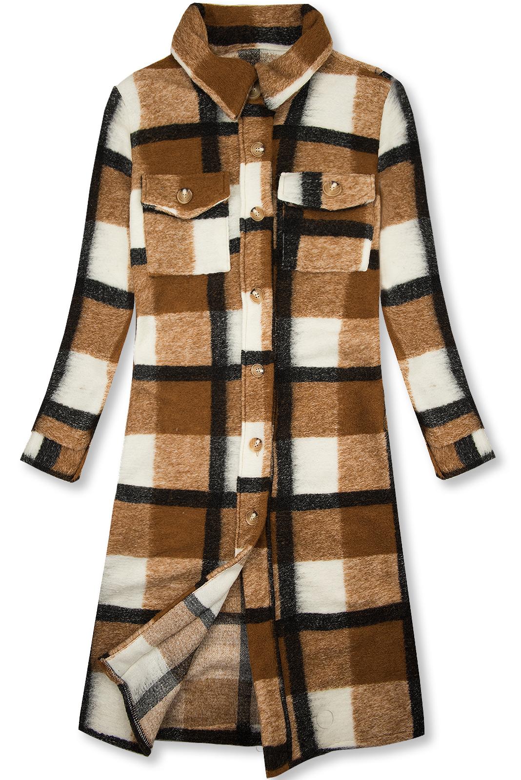 Karamelovo-biela košeľová bunda