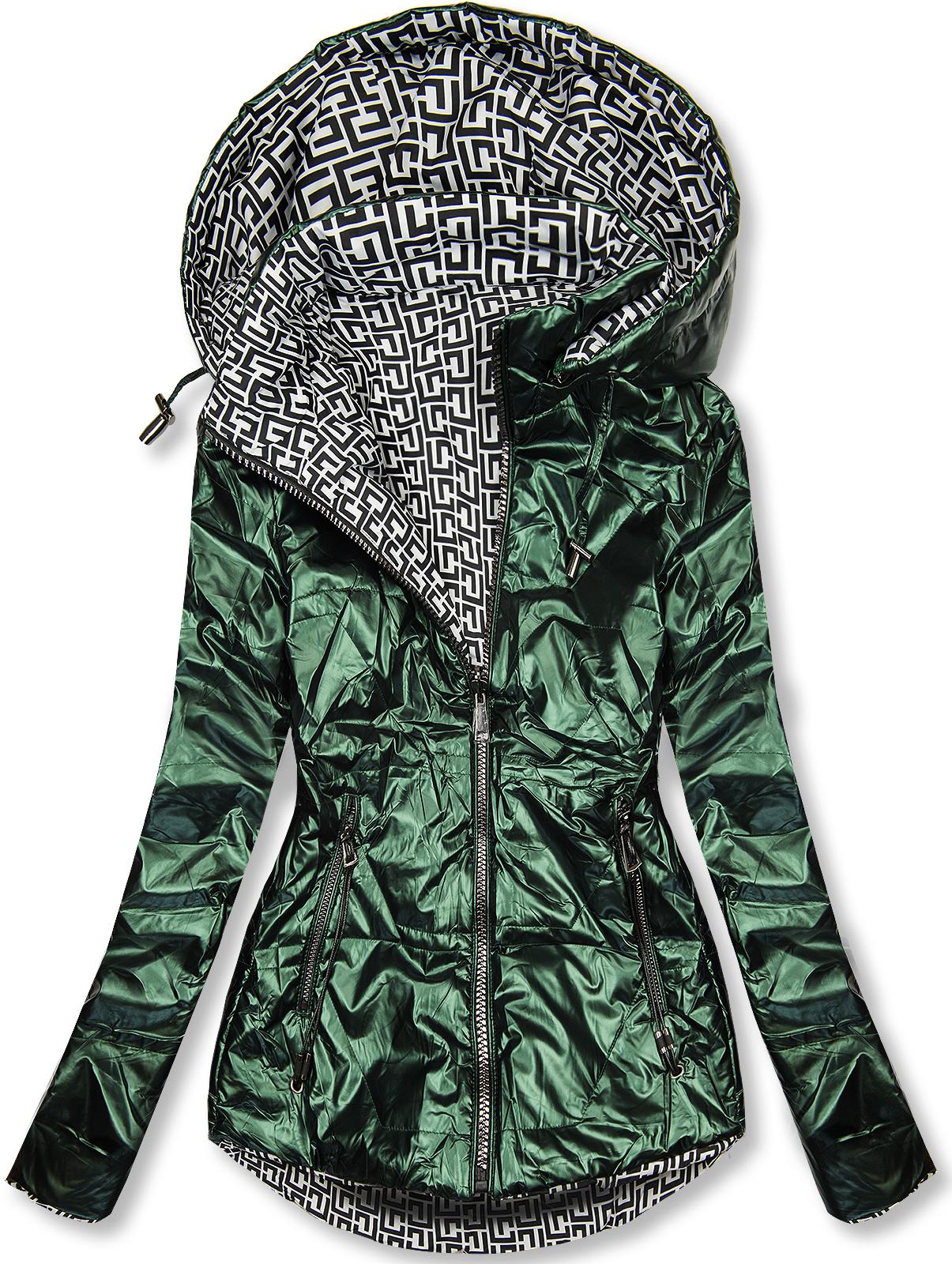 Smaragdovo zelená/biela lesklá obojstranná bunda