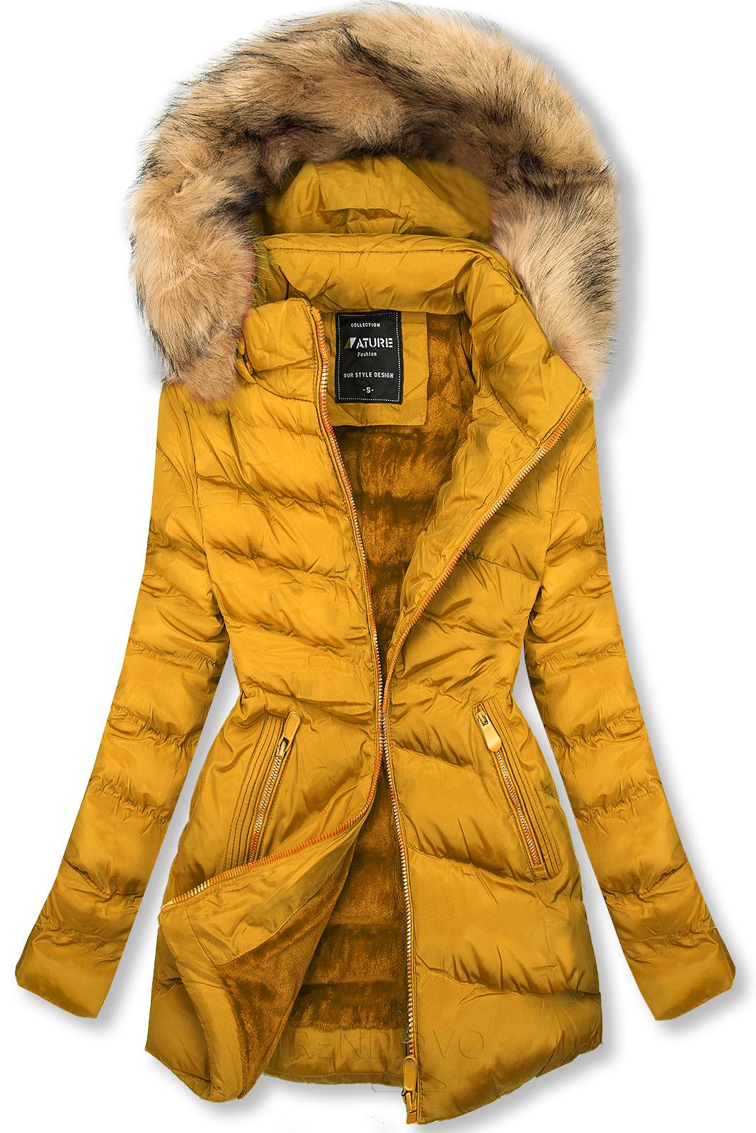 Prešívaná prechodná bunda žltá