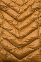 Karamelová zimná krátka bunda s čiernou kožušinou