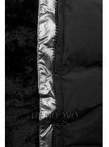 Čierna zimná bunda so strieborným lemom