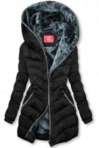 Čierna prešívaná bunda zateplená plyšom