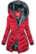 Vínovočervená prešívaná bunda zateplená plyšom