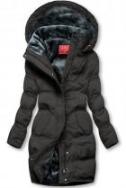 Čierna zimná bunda s plyšovou podšívkou