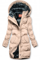 Púdrová zimná bunda s plyšovou podšívkou