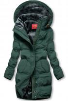 Tmavozelená zimná bunda s plyšovou podšívkou