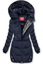Tmavomodrá zimná bunda so strieborným lemom