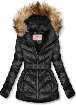 Čierna zimná krátka bunda s hnedou kožušinou