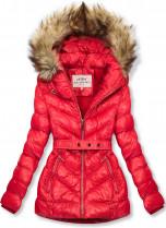 Červená zimná krátka bunda s hnedou kožušinou
