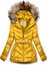 Žltá zimná krátka bunda s hnedou kožušinou