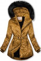 Karamelová lesklá zimná bunda s opaskom