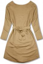 Béžové šaty so zaväzovaním v páse