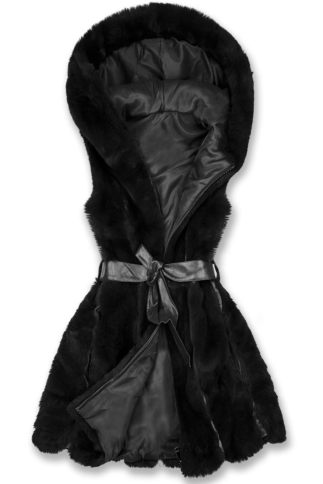 Čierna kožušinová vesta s opaskom
